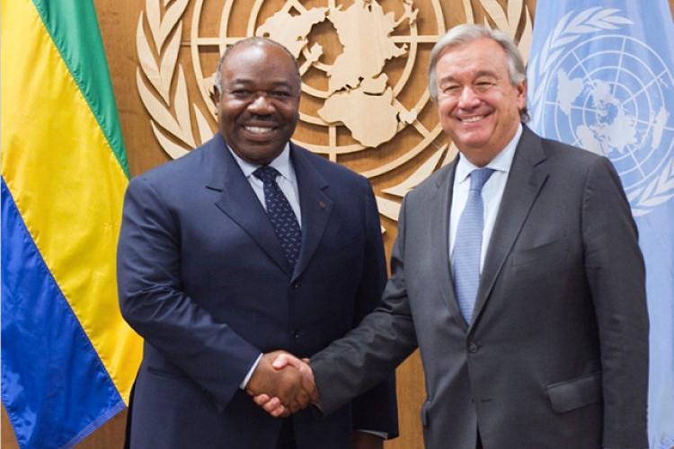 Le président Ali Bongo Ondimba et le secrétaire général de l'ONU, Antonio Guterres