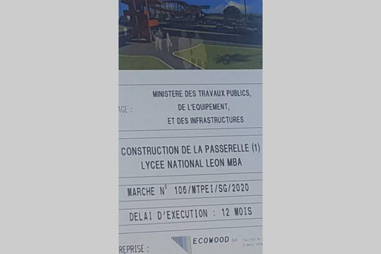 Infrastructures : la passerelle 1 du lycée national Léon Mba en voie de construction